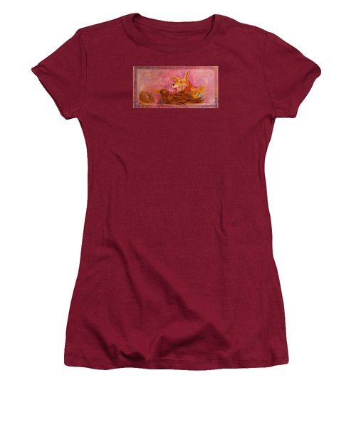 Women's T-Shirt (Junior Cut) featuring the painting Bre Fox And Bre Crow by Gertrude Palmer
