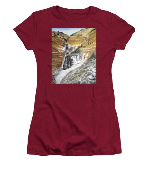 Bridal Veil Falls In Winter Women's T-Shirt (Athletic Fit)