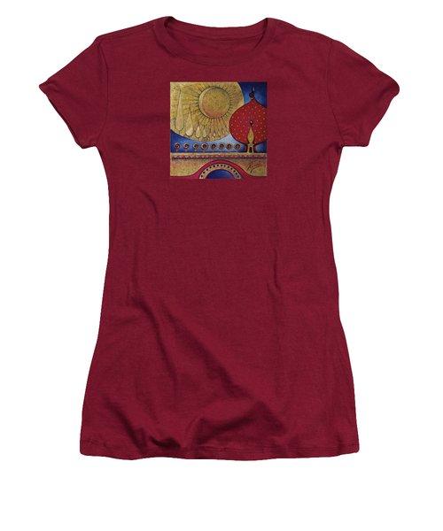 Women's T-Shirt (Junior Cut) featuring the painting Bridge Between Sunrise And Moonrise by Anna Ewa Miarczynska