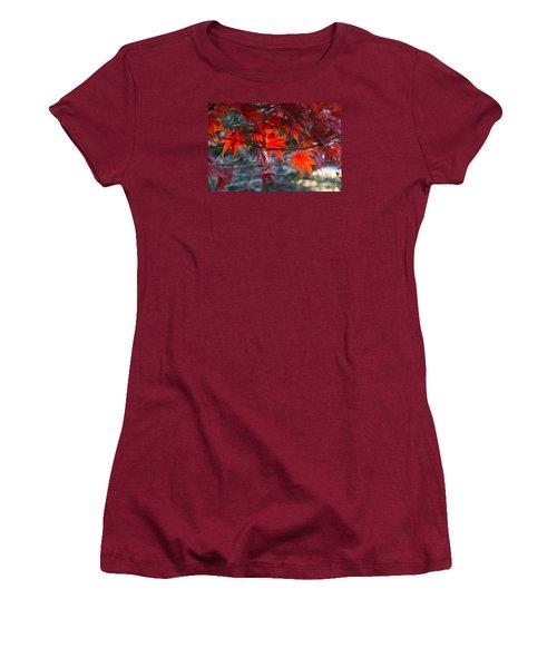 Bright Autumn Leaves Women's T-Shirt (Junior Cut) by Yumi Johnson