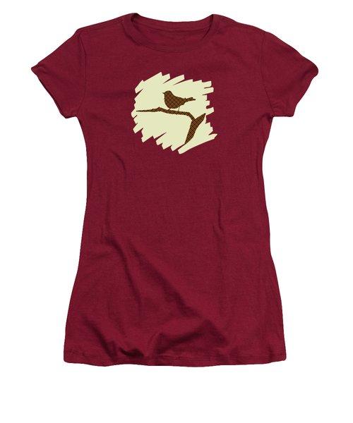 Brown Bird Silhouette Modern Bird Art Women's T-Shirt (Athletic Fit)