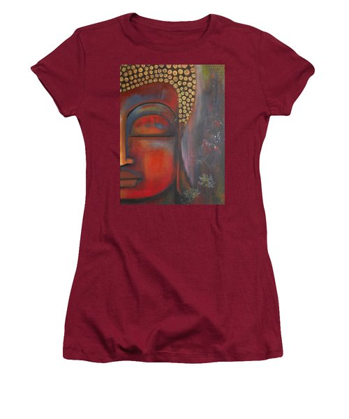 Buddha With Floating Lotuses Women's T-Shirt (Junior Cut) by Prerna Poojara