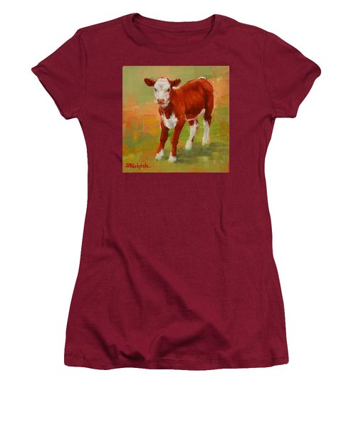 Women's T-Shirt (Junior Cut) featuring the painting Calf Miniature by Margaret Stockdale