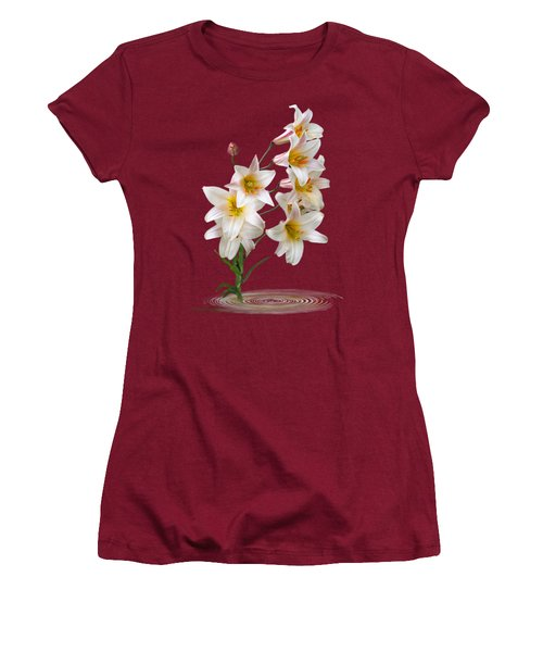 Cascade Of Lilies On Black Women's T-Shirt (Athletic Fit)