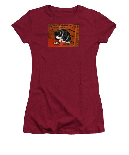 Cat's Prayer Revisited By Teddy The Ninja Cat Women's T-Shirt (Junior Cut) by Reb Frost