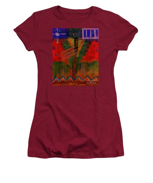 Women's T-Shirt (Junior Cut) featuring the painting Celebrate Life by Angela L Walker