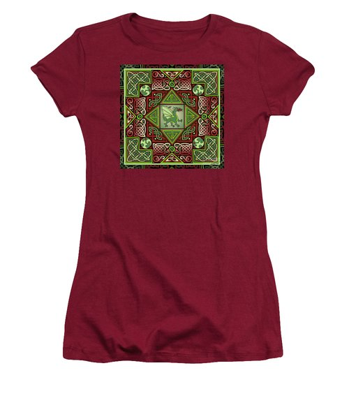 Women's T-Shirt (Junior Cut) featuring the mixed media Celtic Dragon Labyrinth by Kristen Fox