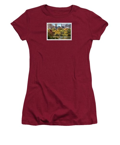 Central Park Lake In Fall Text New York Women's T-Shirt (Junior Cut) by Elaine Plesser