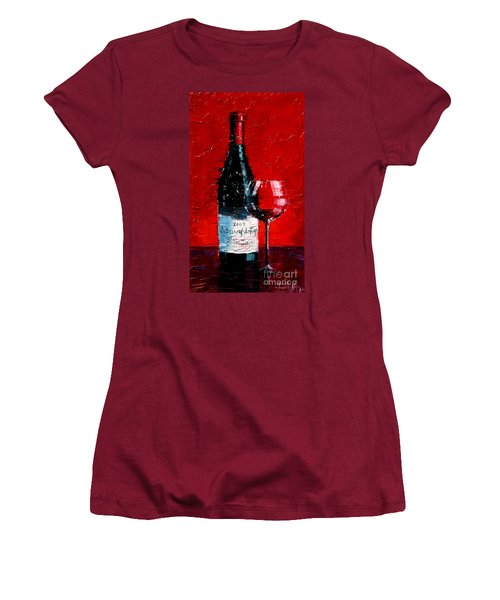 Still Life With Wine Bottle And Glass I Women's T-Shirt (Athletic Fit)