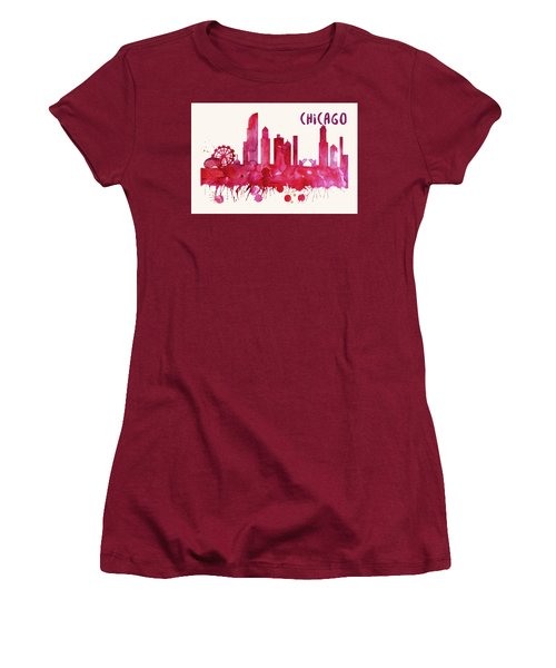 Chicago Skyline Watercolor Poster - Cityscape Painting Artwork Women's T-Shirt (Athletic Fit)