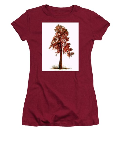 Chinese Pine Tree Drawing Women's T-Shirt (Athletic Fit)