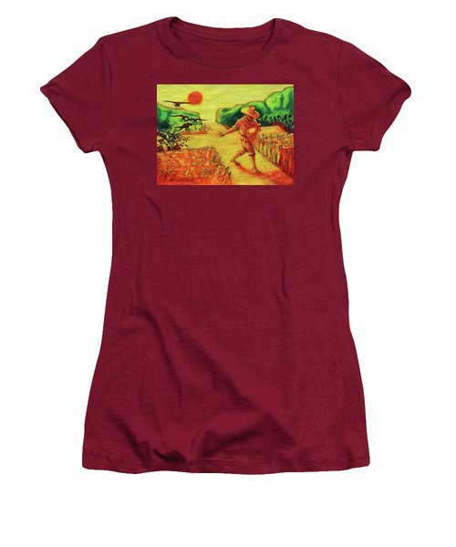 Women's T-Shirt (Junior Cut) featuring the painting Christian Art Parable Of The Sower Artwork T Bertram Poole by Thomas Bertram POOLE