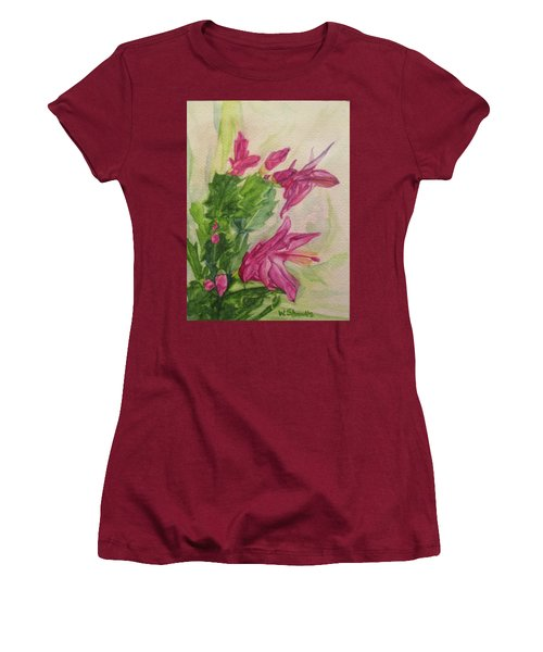 Christmas Cactus Women's T-Shirt (Junior Cut) by Wendy Shoults
