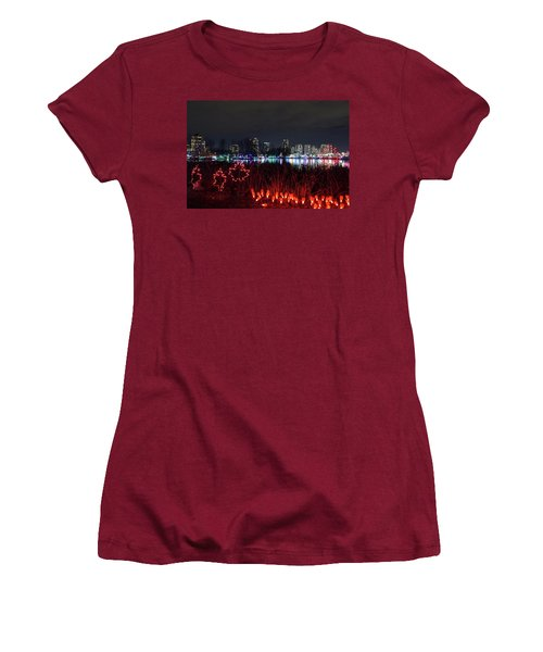 Christmas Lights At Lafarge Lake In City Of Coquitlam Women's T-Shirt (Athletic Fit)