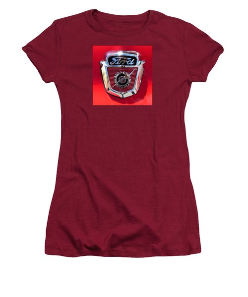 Women's T-Shirt (Junior Cut) featuring the photograph Classic Ford Logo by Spyder Webb