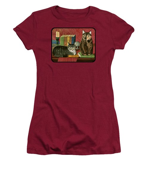 Women's T-Shirt (Junior Cut) featuring the painting Classic Literary Cats by Carrie Hawks