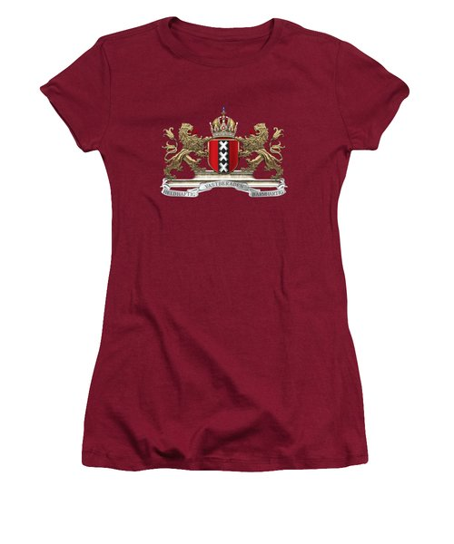 Coat Of Arms Of Amsterdam Over Red Velvet Women's T-Shirt (Athletic Fit)