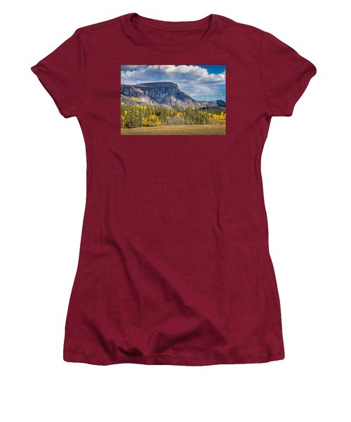Colorado Fall Landscape With Aspen Trees Between Creede And Lake Women's T-Shirt (Junior Cut) by John Brink