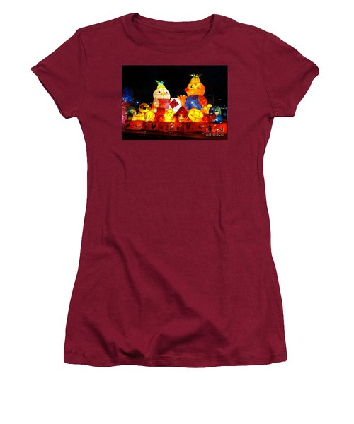 Women's T-Shirt (Junior Cut) featuring the photograph Colorful Chinese Lanterns In The Shape Of Chickens by Yali Shi