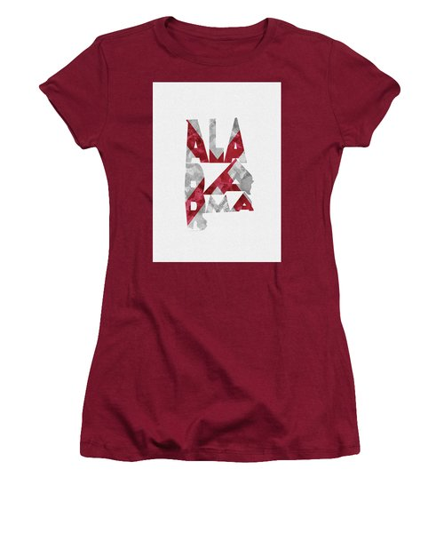 Women's T-Shirt (Athletic Fit) featuring the painting Alabama Typographic Map Flag by Inspirowl Design