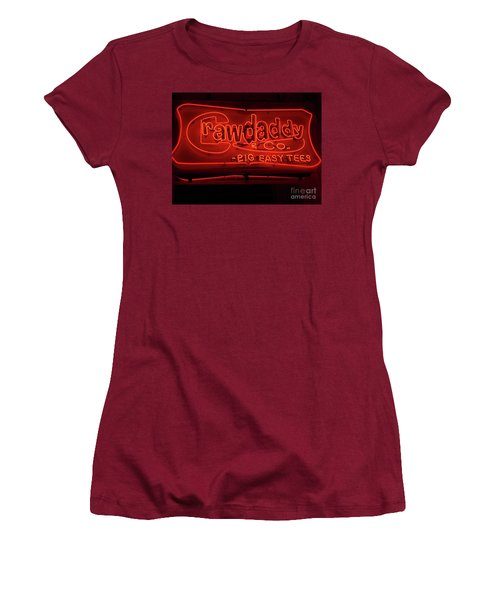 Women's T-Shirt (Junior Cut) featuring the photograph Craw Daddy Neon Sign by Steven Spak