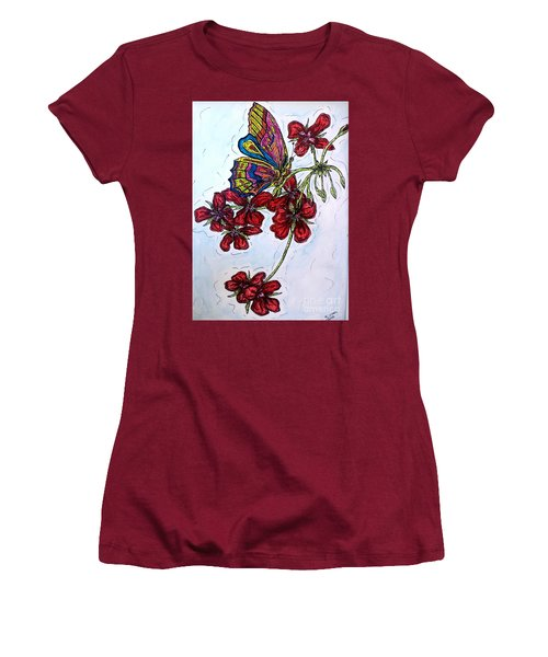 Crimson Fancy Women's T-Shirt (Junior Cut) by Kim Jones