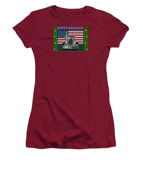 Women's T-Shirt (Junior Cut) featuring the digital art Custom Pete Happy Holidays by Stuart Swartz