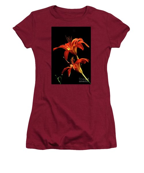 Women's T-Shirt (Athletic Fit) featuring the photograph Daylily Double by Douglas Stucky