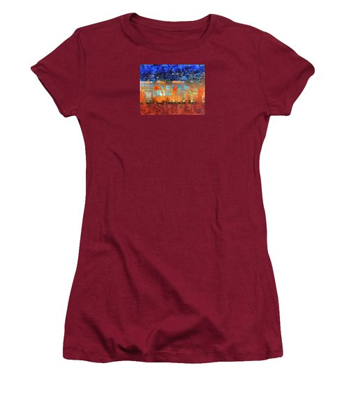 Women's T-Shirt (Junior Cut) featuring the painting Desert Strata by Walter Fahmy
