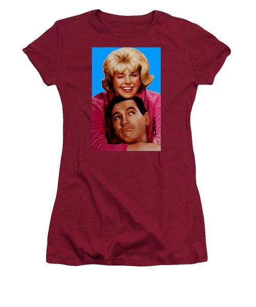 Women's T-Shirt (Junior Cut) featuring the mixed media Doris Day Rock Hudson  by Paul Van Scott