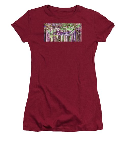 Women's T-Shirt (Athletic Fit) featuring the mixed media Dragonfly Bloomies 4 - Pink by Carol Cavalaris