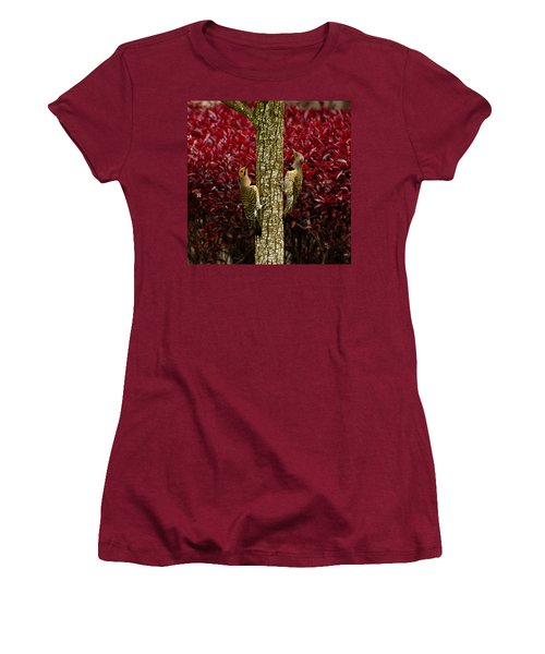 Dueling Woodpeckers Women's T-Shirt (Athletic Fit)