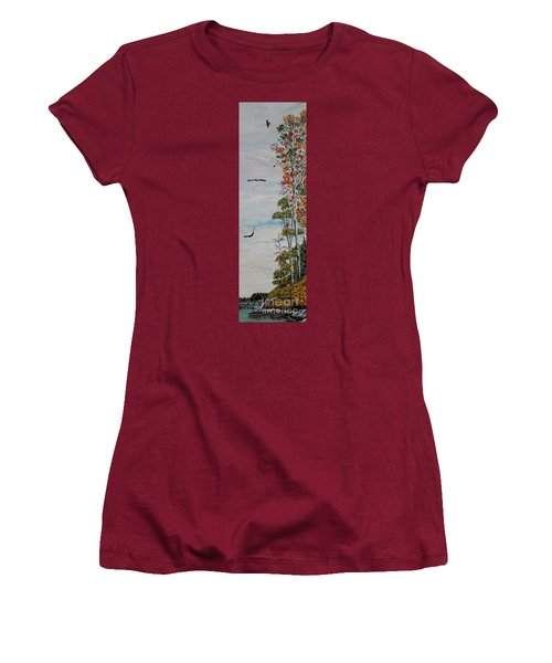 Women's T-Shirt (Junior Cut) featuring the painting Eagles Point by Marilyn  McNish