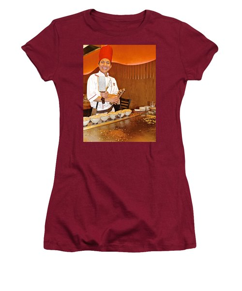 Entertaining Chef At Benihana In Monterey-california Women's T-Shirt (Athletic Fit)