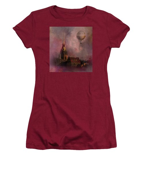 Women's T-Shirt (Junior Cut) featuring the digital art Stockholm Church With Flying Balloon by Jeff Burgess