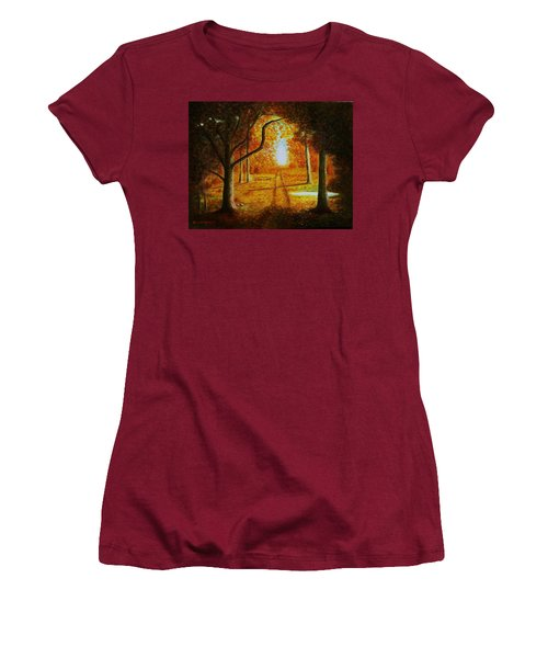 Fall In The Woods Women's T-Shirt (Junior Cut) by Gene Gregory