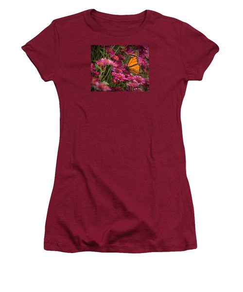 Women's T-Shirt (Athletic Fit) featuring the photograph Fall Monarch  by Julie Andel