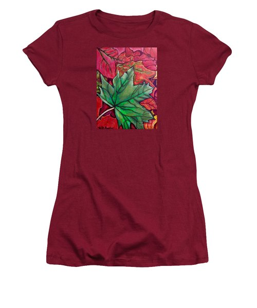 Women's T-Shirt (Junior Cut) featuring the painting Fallen Green Maple Leaf In The Fall by Kimberlee Baxter