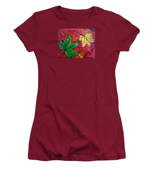 Women's T-Shirt (Junior Cut) featuring the painting Falling Leaves I Painting by Kimberlee Baxter