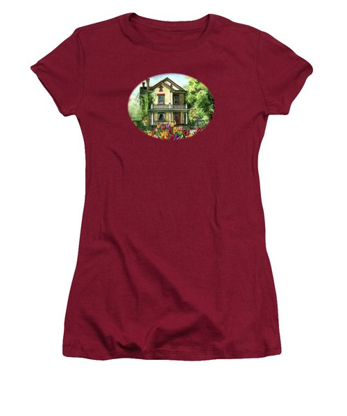 Farmhouse With Spring Tulips Women's T-Shirt (Junior Cut)