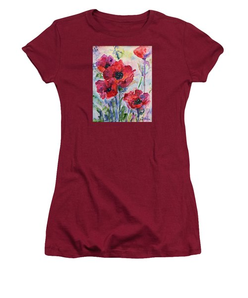 Women's T-Shirt (Junior Cut) featuring the painting Field Of Red Poppies Watercolor by AmaS Art