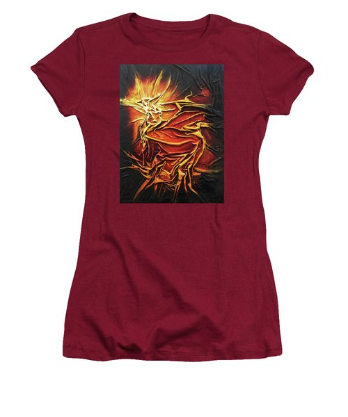 Women's T-Shirt (Junior Cut) featuring the mixed media Fire by Angela Stout