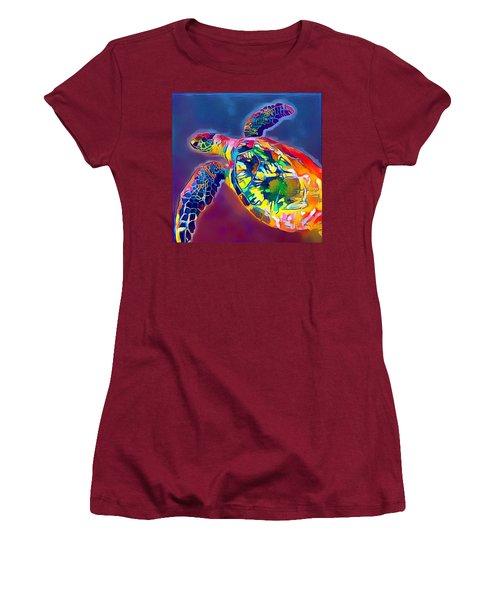 Women's T-Shirt (Junior Cut) featuring the digital art Flash The Turtle by Erika Swartzkopf