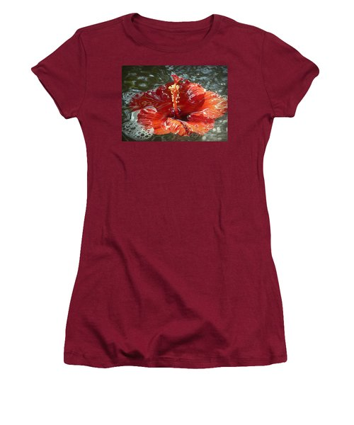 Floating Hibiscus Women's T-Shirt (Junior Cut) by Lori Seaman