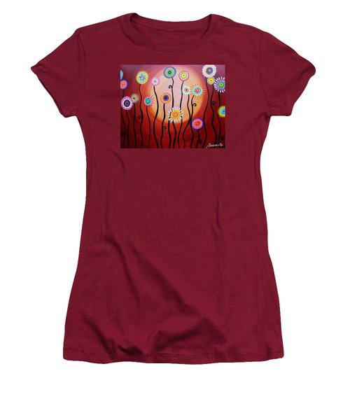 Women's T-Shirt (Junior Cut) featuring the painting Flower Fest by Pristine Cartera Turkus