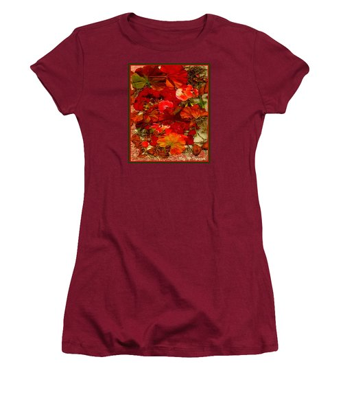 Women's T-Shirt (Junior Cut) featuring the mixed media Flowers For You by Ray Tapajna