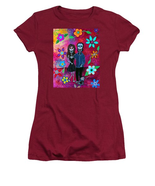 Women's T-Shirt (Athletic Fit) featuring the painting Forever Love by Pristine Cartera Turkus
