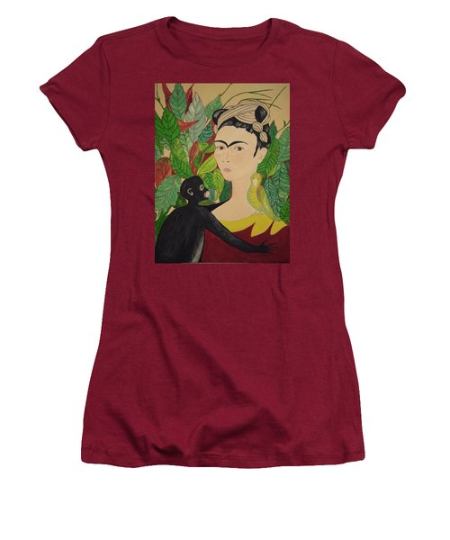 Frida With Monkey And Bird Women's T-Shirt (Junior Cut) by Stephanie Moore