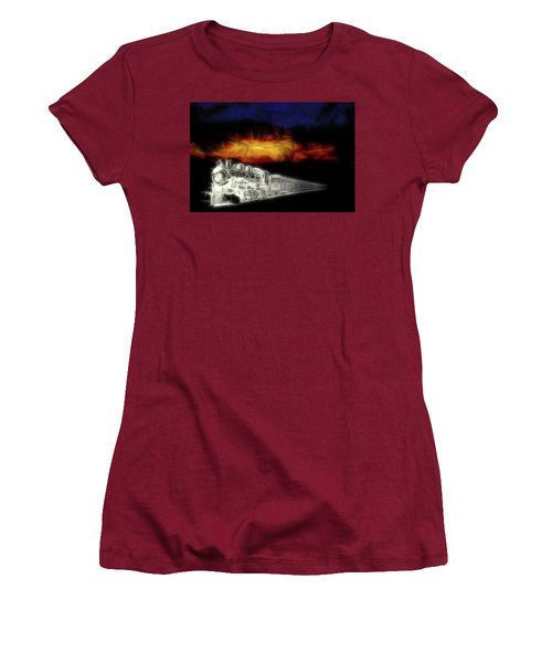 Women's T-Shirt (Athletic Fit) featuring the digital art Ghost Train by John Haldane