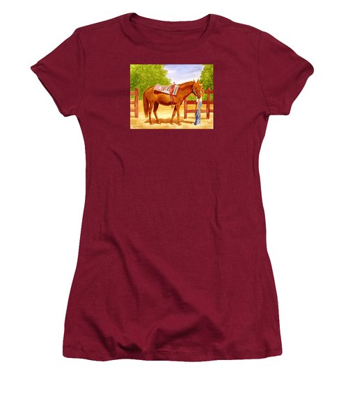 Women's T-Shirt (Junior Cut) featuring the painting Girl Talk by Stacy C Bottoms